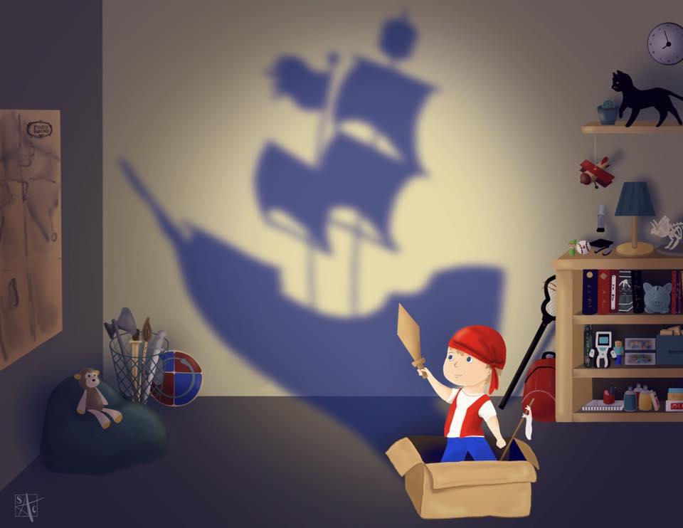 boy playing pretend pirate ship