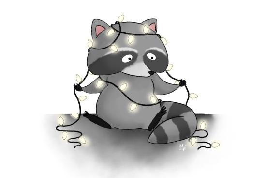 raccoon illustration holiday lights
