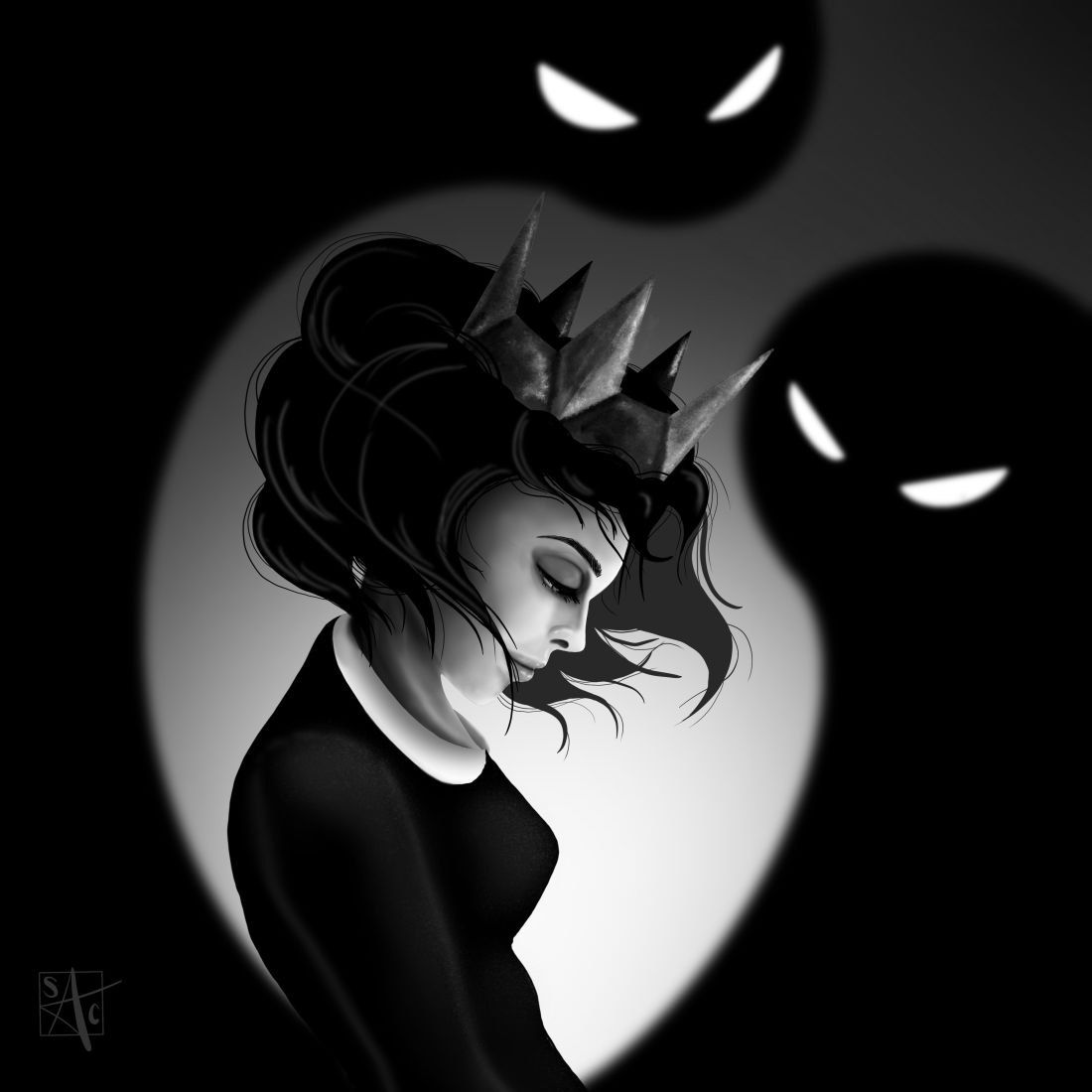 drawing girl crown shadow ghosts