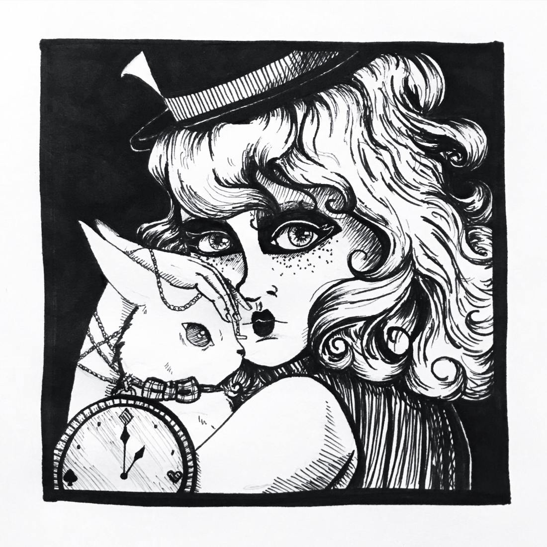 alice in wonderland. girl. portrait. rabbit.