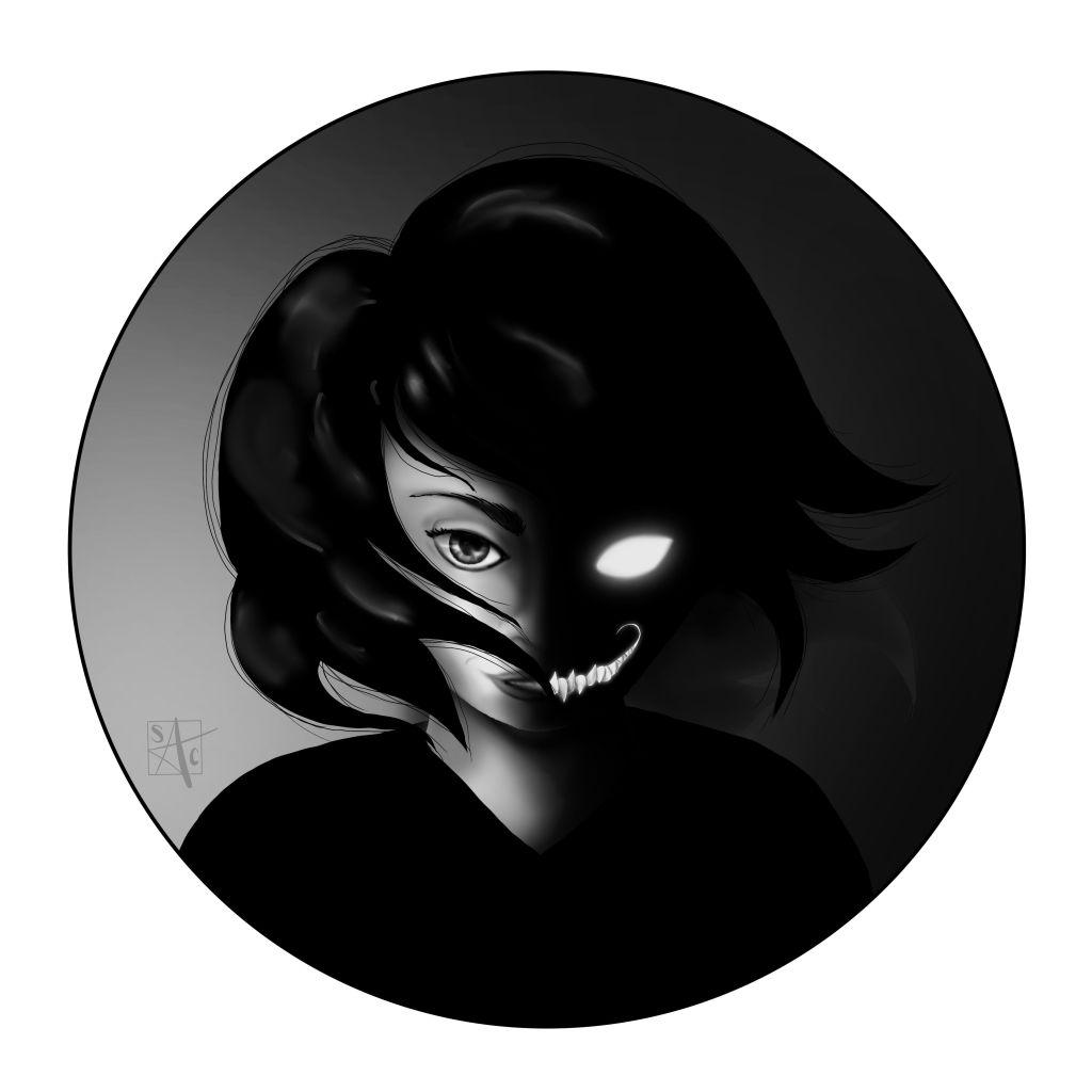 half girl portrait half demon